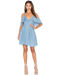 Nicholas Chambray Deep V Off Shoulder Dress In Blue
