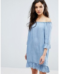Only Off The Shoulder Denim Dress