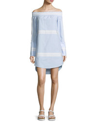 Derek Lam 10 Crosby Off The Shoulder Poplin Shift Dress Oxford