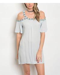 Sky Blue Cold Shoulder Dress