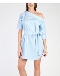 White Light Blue Stripe Belted Off Shoulder Dress