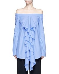 Ellery Debauch Waterfall Ruffle Shirting Off Shoulder Top