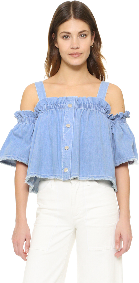 57c89c65281 Sjyp Denim Off Shoulder Top, $162 | shopbop.com | Lookastic.com