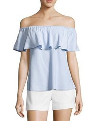 Wyatt Light Blue Chambray Off The Shoulder Blouse