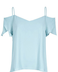River Island Light Blue Cold Shoulder Frilly Sleeve Top