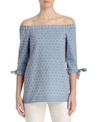 Lafayette 148 New York Natayla Bohemia Dots Off The Shoulder Blouse
