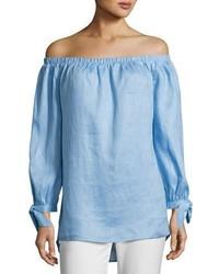 Neiman Marcus Off The Shoulder Linen Top Blue