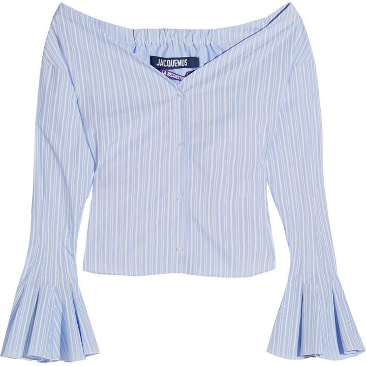 a18e8aeebc ... Jacquemus Off The Shoulder Striped Cotton Poplin Top Blue ...