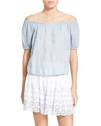 See by Chloe See By Chlo Stripe Cotton Voile Off The Shoulder Top