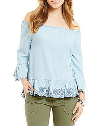 Democracy Shiftly Embroidered Off The Shoulder Tencel Top