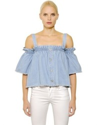 SteveJ & YoniP Off The Shoulders Cotton Denim Top