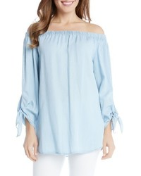 Tie sleeve off the shoulder chambray top medium 1249327