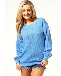 Women s Light Blue Oversized Sweaters by Boohoo  c1dcb24a7