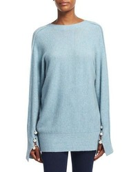 Long sleeve v back pullover sweater light blue medium 4984321