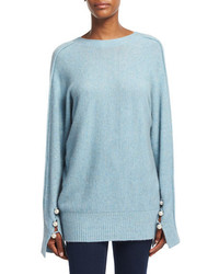Long sleeve v back pullover sweater light blue medium 6870507