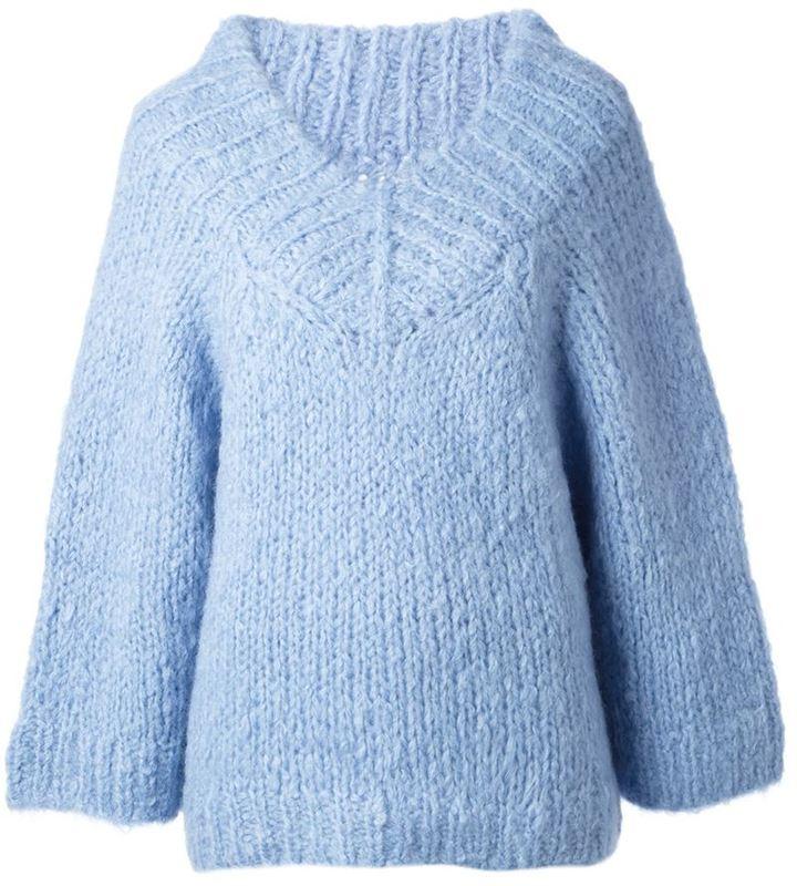 Michael Kors Michl Kors Ribbed Trimming Oversized V Neck Sweater ...
