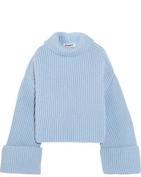 Oversized ribbed wool blend turtleneck sweater blue medium 5258854