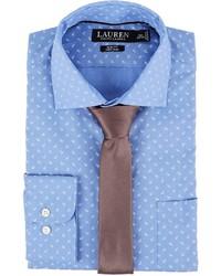 Lauren Ralph Lauren Slim Fit Non Iron Mini Paisley Poplin Plaid Spread Collar Dress Shirt Long Sleeve Button Up