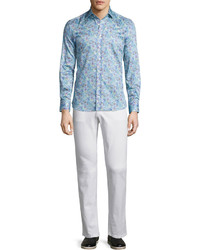 Light Blue Paisley Long Sleeve Shirt
