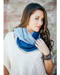 Elizabeth Koh Green And Blue Paisley Two Toned Scarf