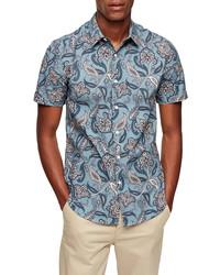 Topman Paisley Short Sleeve Button Up Shirt