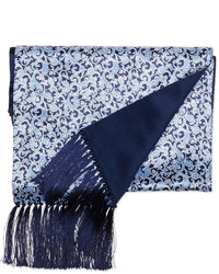 Stefano Ricci Paisley Print Silk Scarf Blue