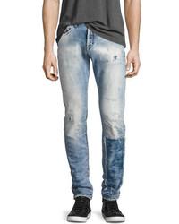PRPS Demon Distressed Patchwork Slim Straight Jeans Riptide Light Wash