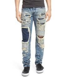 Demon slim straight leg repaired patchwork jeans medium 601632