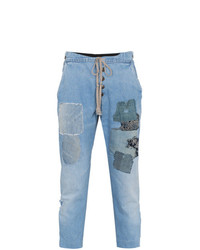 Greg Lauren Patchwork Drawstring Waist Jeans