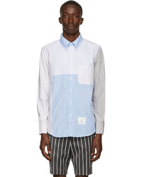 Thom Browne Blue Grey Patchwork Hairline Check Shirt