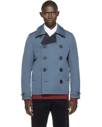 Burberry London Blue Double Faced Wool Renold Peacoat