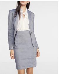 Express High Waisted Pintucked Linen Blend Pencil Skirt