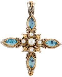 Konstantino Amphitrite Topaz Pearl Cross Pendant Enhancer