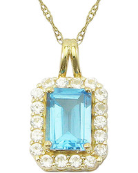 jcpenney Fine Jewelry 10k Yellow Gold Genuine Blue Topaz Lab Created White Sapphire Pendant Necklace