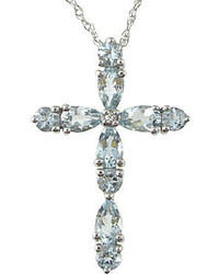 jcpenney Fine Jewelry Aquamarine Lab Created Sapphire Cross Pendant Necklace