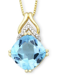 jcpenney Fine Jewelry Cushion Cut Blue Topaz Pendant With Diamond Accents Necklace
