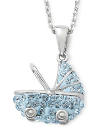 jcpenney Fine Jewelry Sterling Silver Blue Crystal Baby Carriage Pendant Necklace