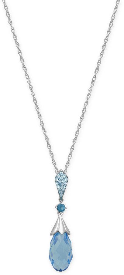02ce9c55c ... Kaleidoscope Light Blue Swarovski Crystal Briole Pendant Necklace In  Sterling Silver
