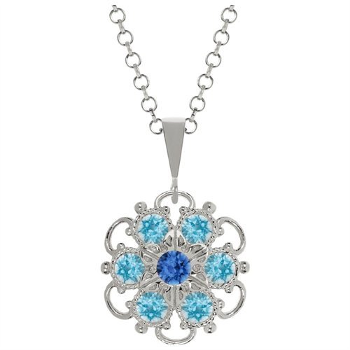 Lucia Costin 925 Silver Blue Light Blue Swarovski Crystal Pendant