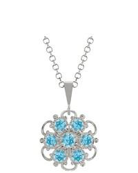 Lucia Costin Silver Light Blue Swarovski Crystal Pendant With Dots