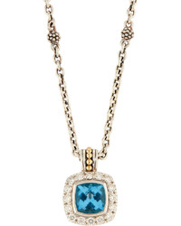 Lagos Prism Blue Topaz Diamond Pendant Necklace
