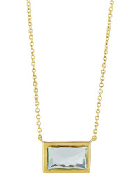 Ippolita Rock Candy 18k Small Blue Topaz Baguette Pendant Necklace
