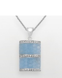 Sterling Silver Blue Quartz Cubic Zirconia Rectangle Pendant