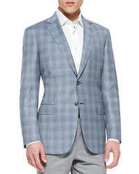 Check wool jacket blue medium 53339
