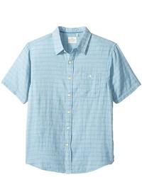 True Grit Indigo Surf Plaid One Pocket Short Sleeve Shirt Double Light Combed Cotton Clothing