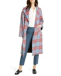 Helene Berman Plaid Oversize Wrap Coat