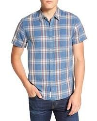 Light Blue Plaid Denim Shirt