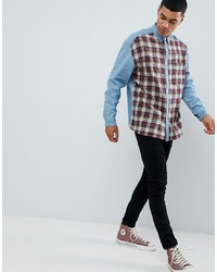 ASOS DESIGN Oversized Denim Shirt With Check Front