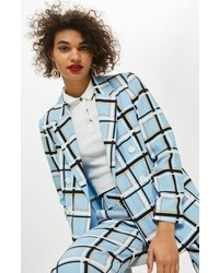 Topshop Check Double Breasted Jacket