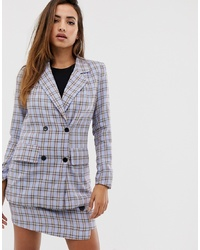 Missguided Co Ord Oversized Blazer In Blue Check